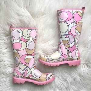 Coach Pink Paisley Winter Rubber Rain Boots